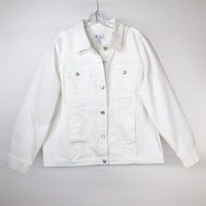 Denim&Co Stretch White Denim Jacket